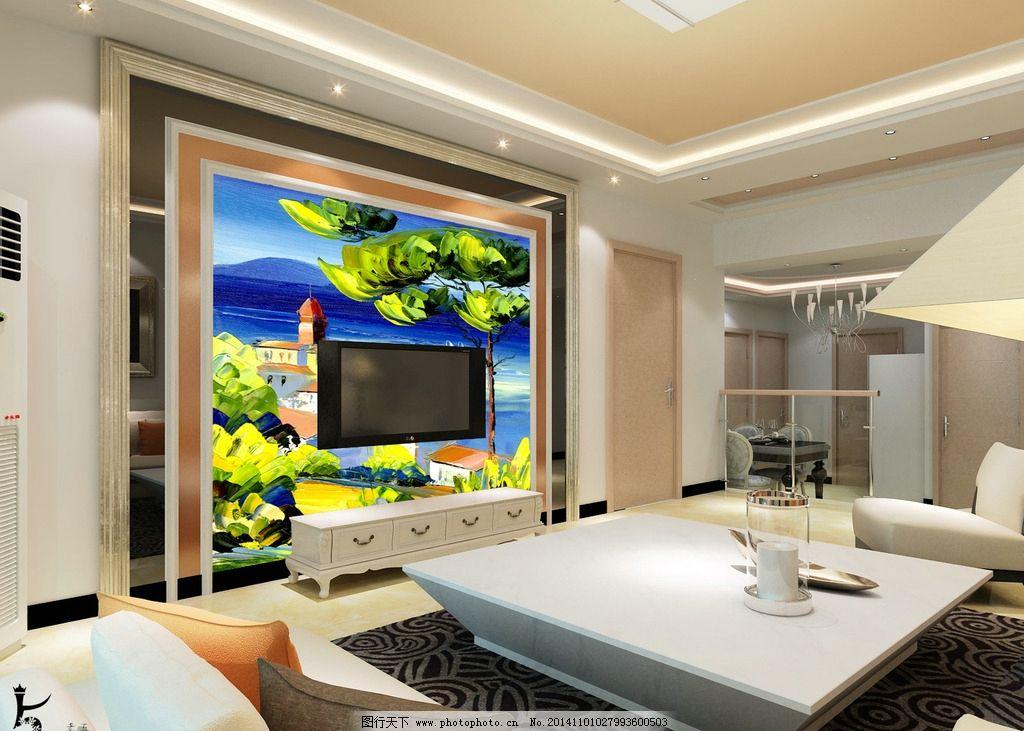 室内背景墙效果图设计 电视机背景墙 现代简约风格 室内效果图 简约