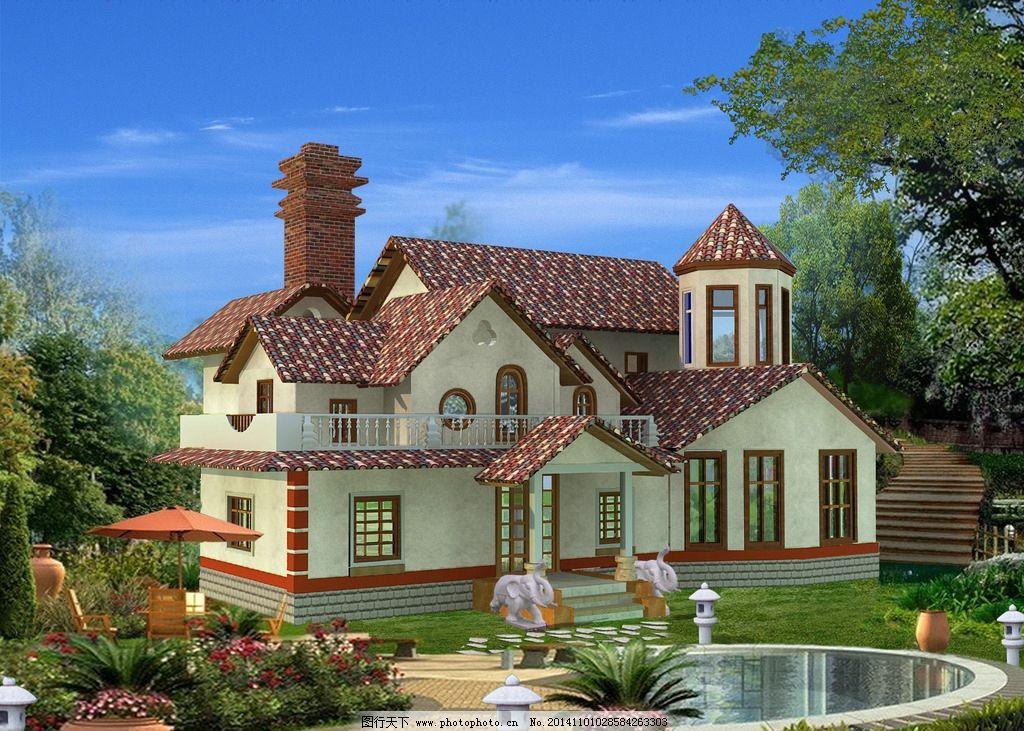 别墅效果图 欧式别墅 别墅外景 植物配置 高档别墅 设计 环境设计