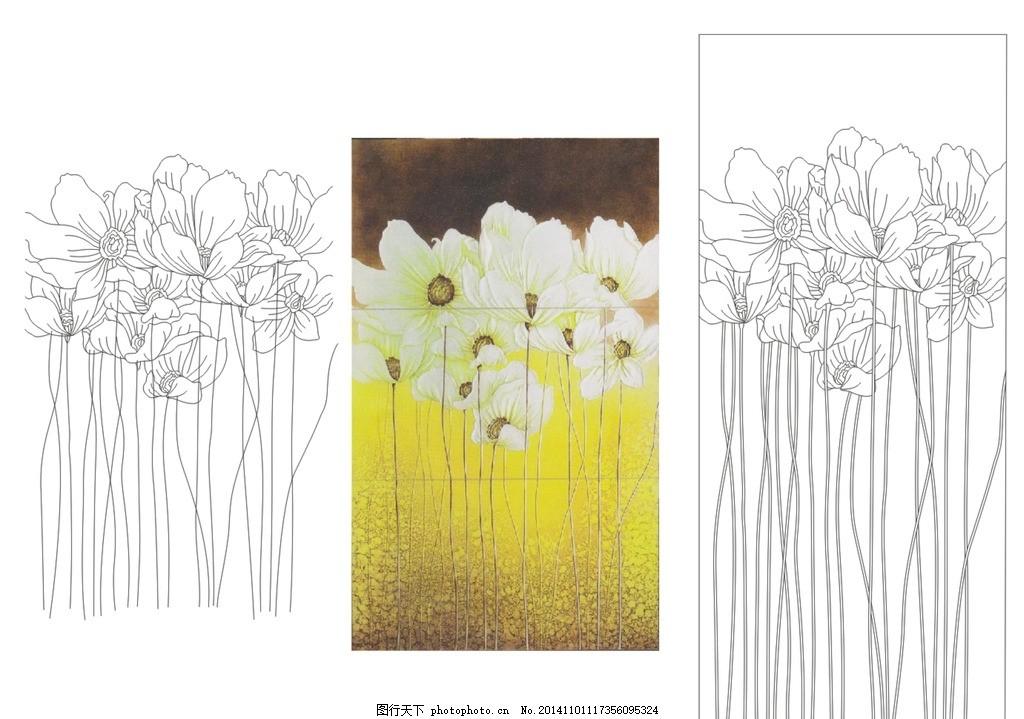 艺术玻璃 玄关背景 花香 花卉 背景图案 肌理上色 欧式背景 白描图