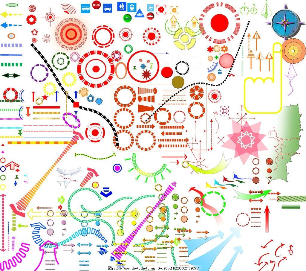 分析图 箭头 圆形符号 景观轴线 指北针 psd效果图源文件 设计 psd