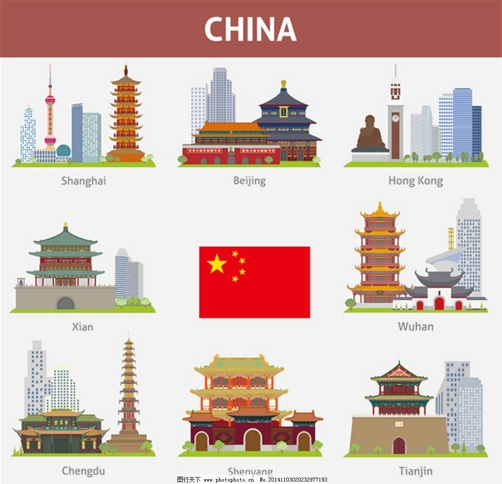 中国城市 地标建筑 中国著名 旅游景点 各大城市 标志性建筑 矢量素材