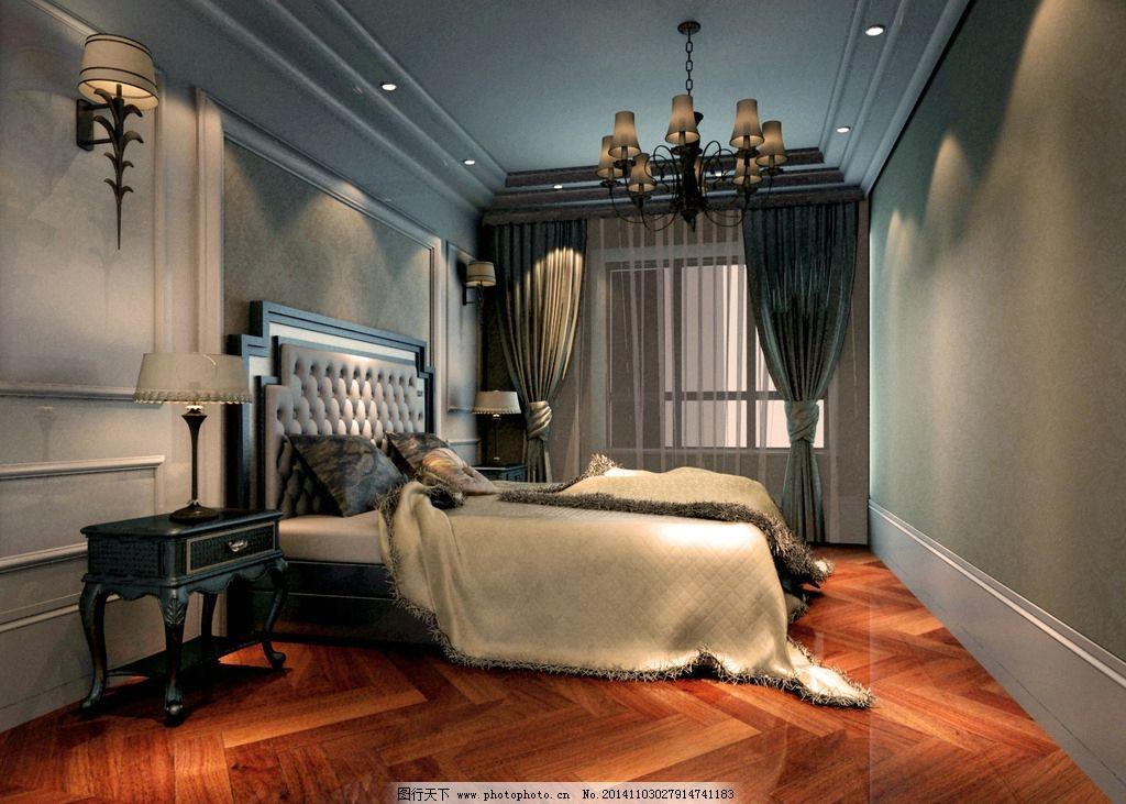 复古卧室 欧式 壁纸 窗帘 床 效果图