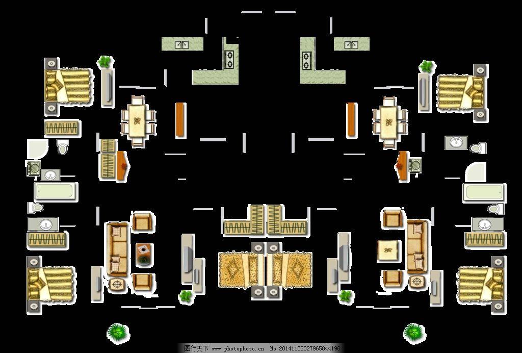 双人床 沙发 地毯 洁具 餐桌 室内景观素材及园林 设计 环境设计 室内