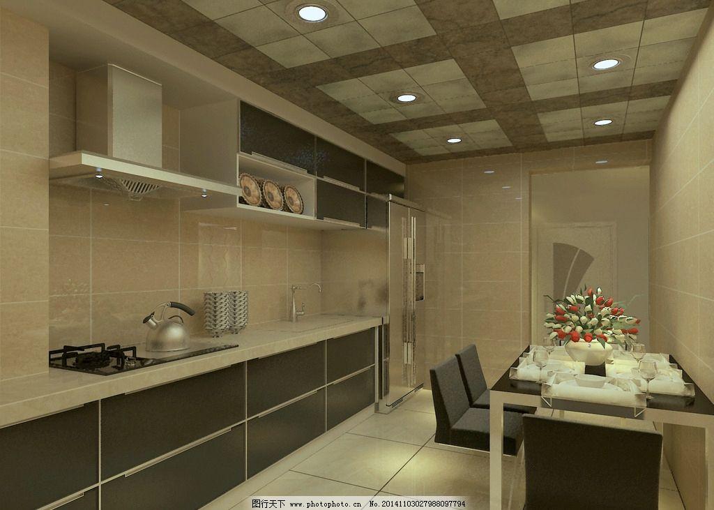 橱柜 餐厅 集成吊顶 黑白现代        设计 环境设计 室内设计