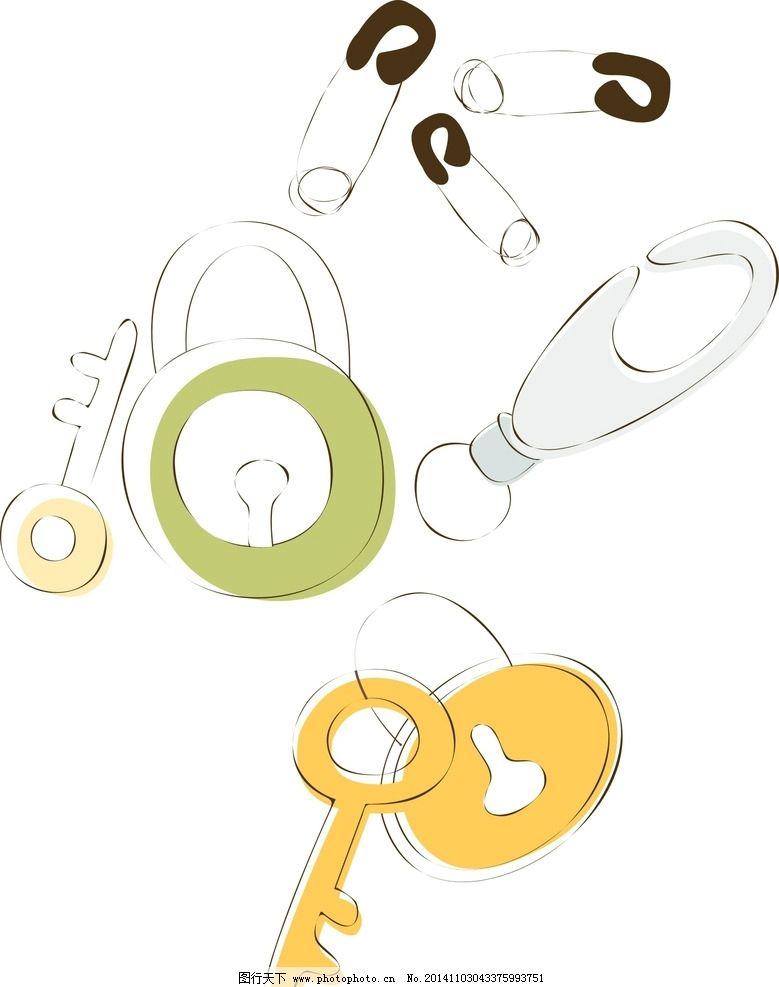 炫丽 唯美 时尚 潮流 矢量素材 韩风 矢量卡通画 卡通彩绘 卡通钥匙
