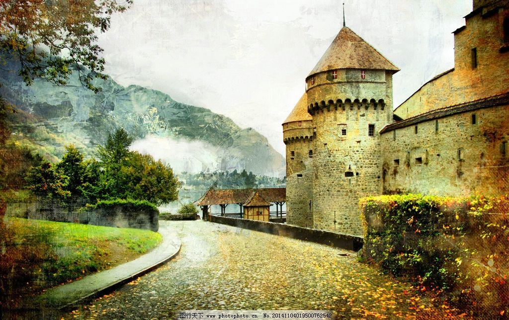 欧式建筑 城堡 教堂 大路