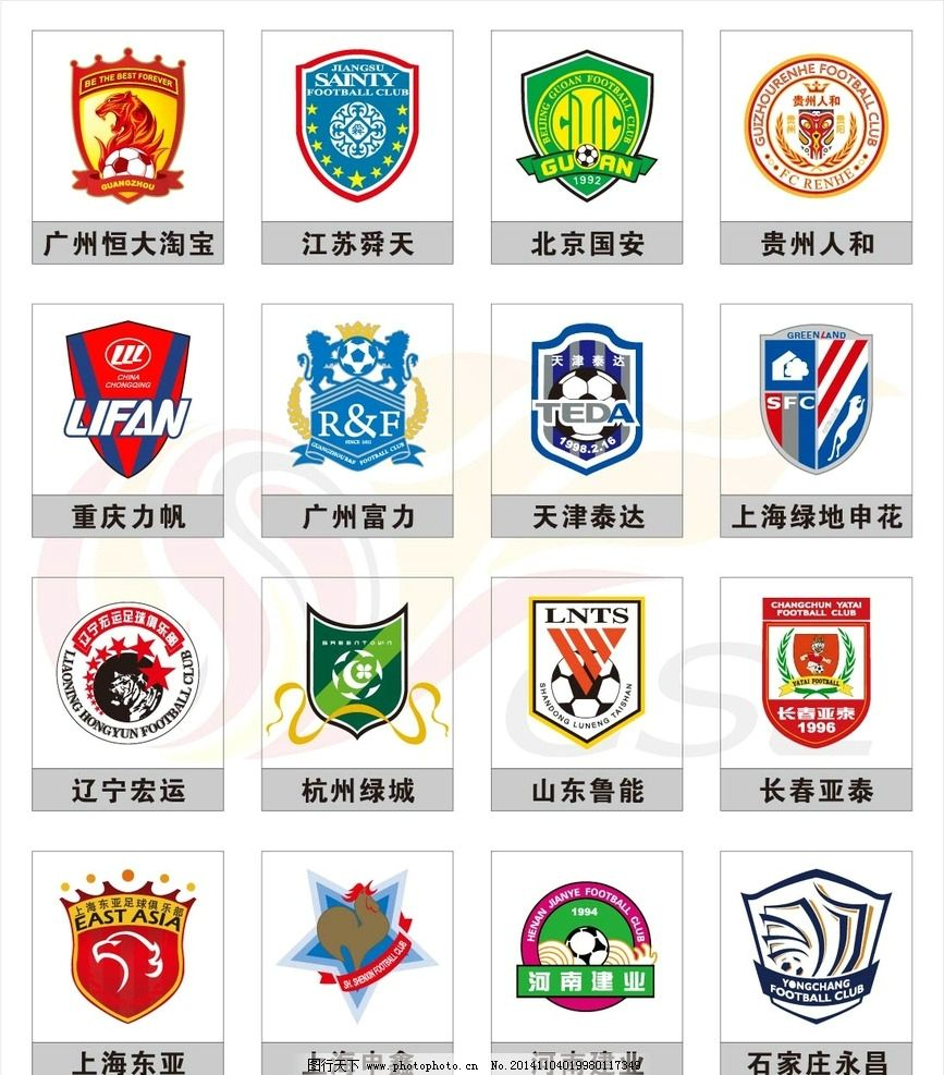 足球球队标志和名字_2015赛季中超联赛俱乐图片_企业LOGO标志_标志图标_图行天下图库