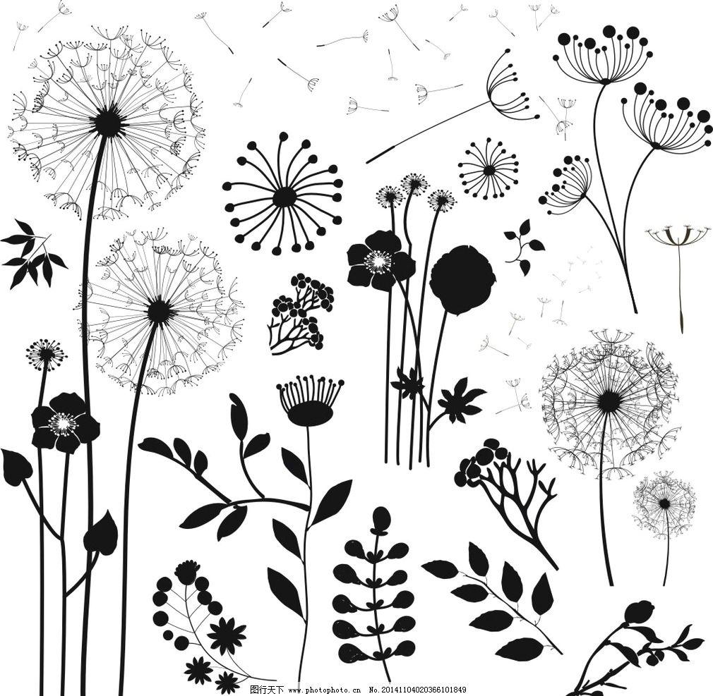 草 植物 蒲公英 花卉 剪影 玫瑰花 设计 底纹边框 花边花纹 cdr