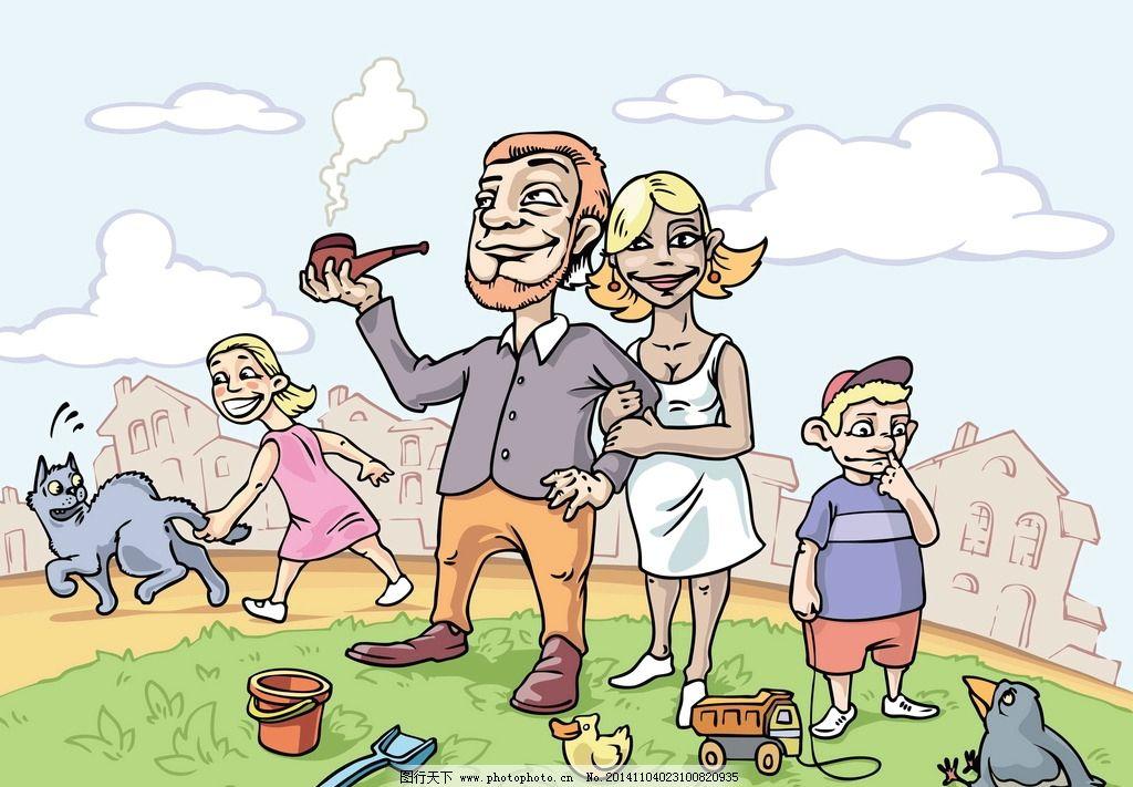 卡通人物 手绘 儿童 家庭 一家人 简笔画人物 矢量