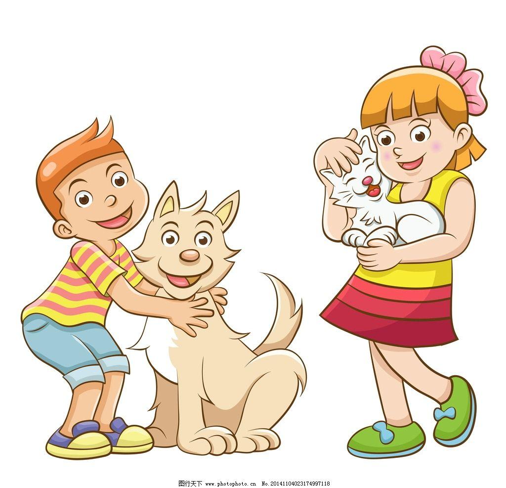 卡通人物 手绘 儿童 宠物狗 猫 矢量 设计 生活人物 eps 设计 人物