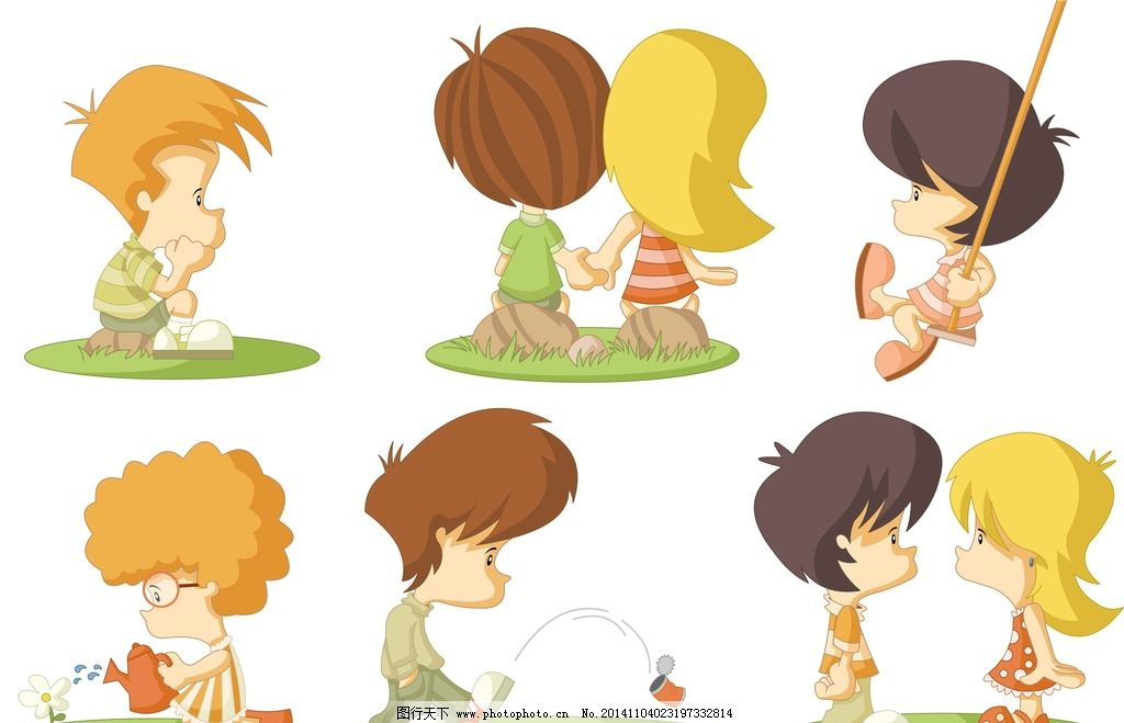 卡通人物 手绘 儿童 男孩 女孩 简笔画人物 矢量 设计 生活人物 eps