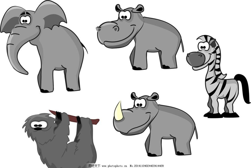 卡通动物 矢量动物 动物素材 大象 卡通大象 矢量大象 犀牛 卡通犀牛
