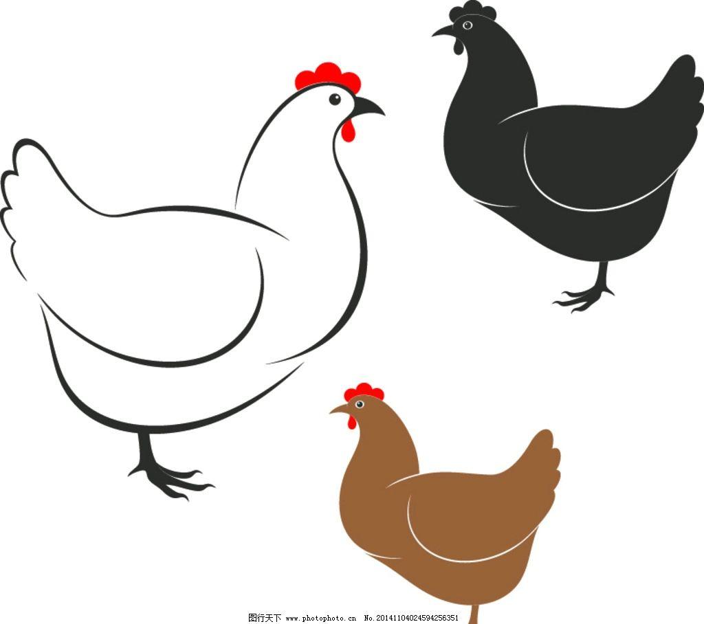 母鸡 卡通鸡 卡通动物 手绘 矢量
