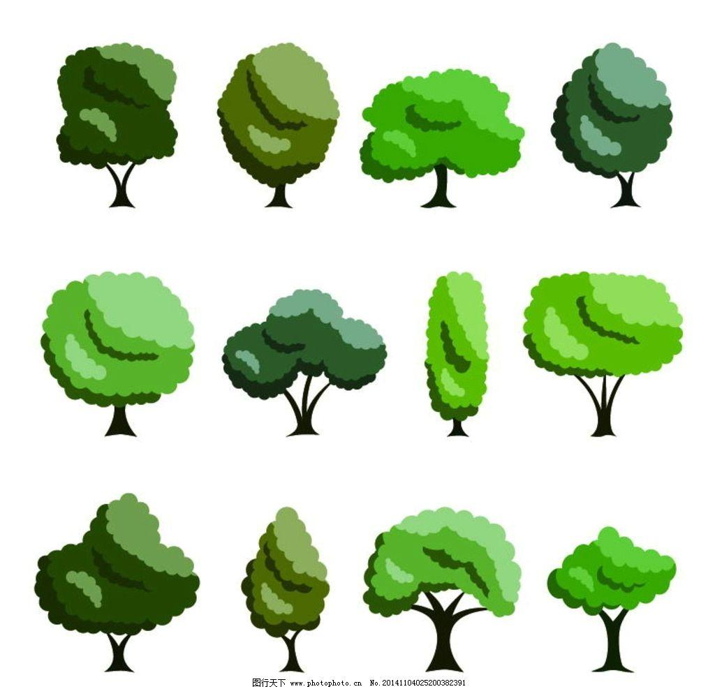 树木 绿叶 绿植 树叶 绿树 手绘树木 树木贴图 植物 生物世界 矢量