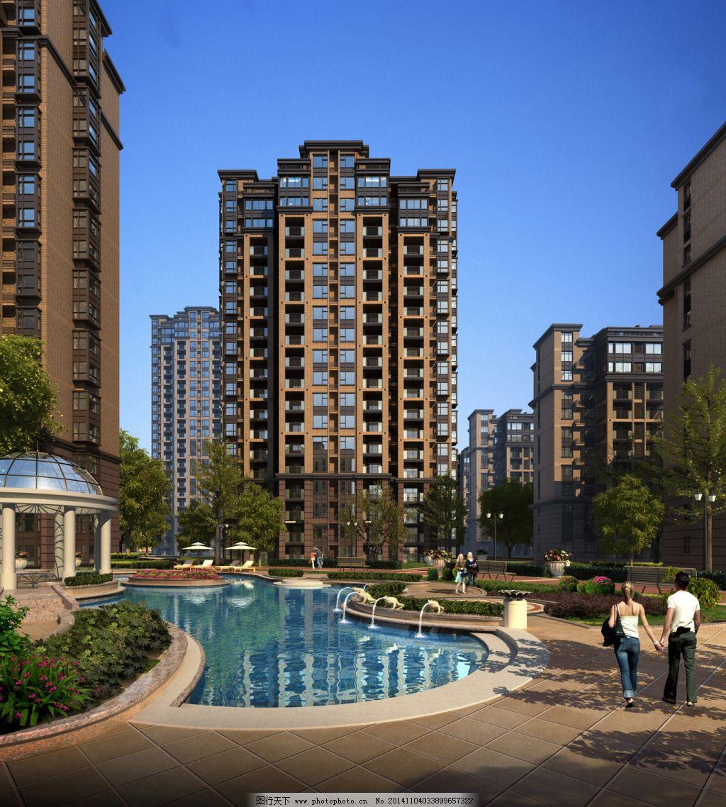 某住宅庭院透视免费下载 高层住宅 新中式 学院风 学院风 新中式 庭院图片