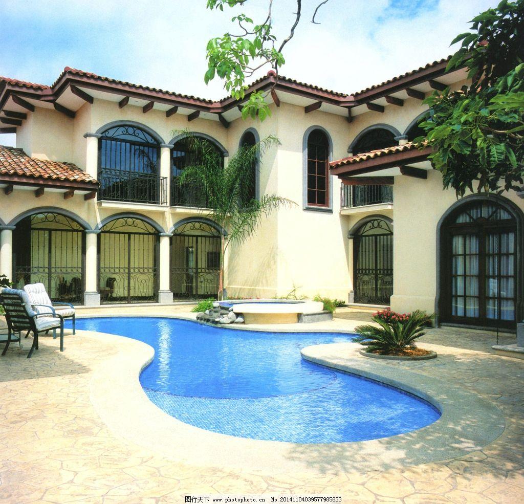 别墅 水池 泳池 庭院 后院 欧式 设计图库 摄影 建筑园林 园林建筑