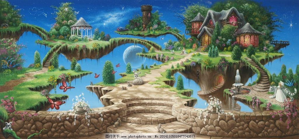 游戏场景 魔幻场景 悬浮岛 魔幻房子 连岛 数码手绘场景      设计