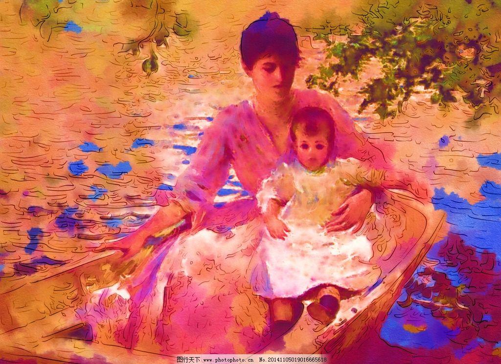 欧洲名画 人物油画 油画 复古 手绘 人物风景写真 电脑合成油画 数码