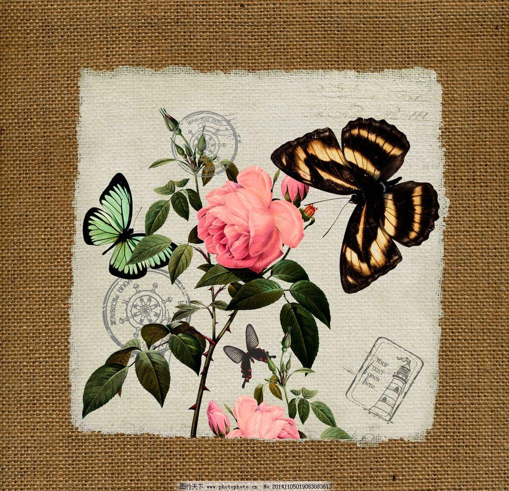 花卉 麻布 装饰画 高清 画芯 麻布画芯 挂画 水彩 油画 植物 动物