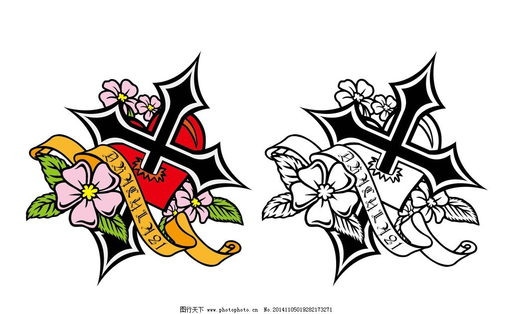 纹身 十字架 玫瑰 心 矢量 设计 文化艺术 宗教信仰 ai