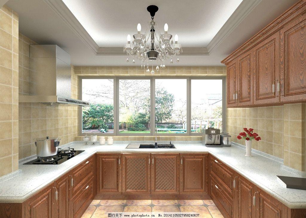 实木欧式厨房 橱柜图片