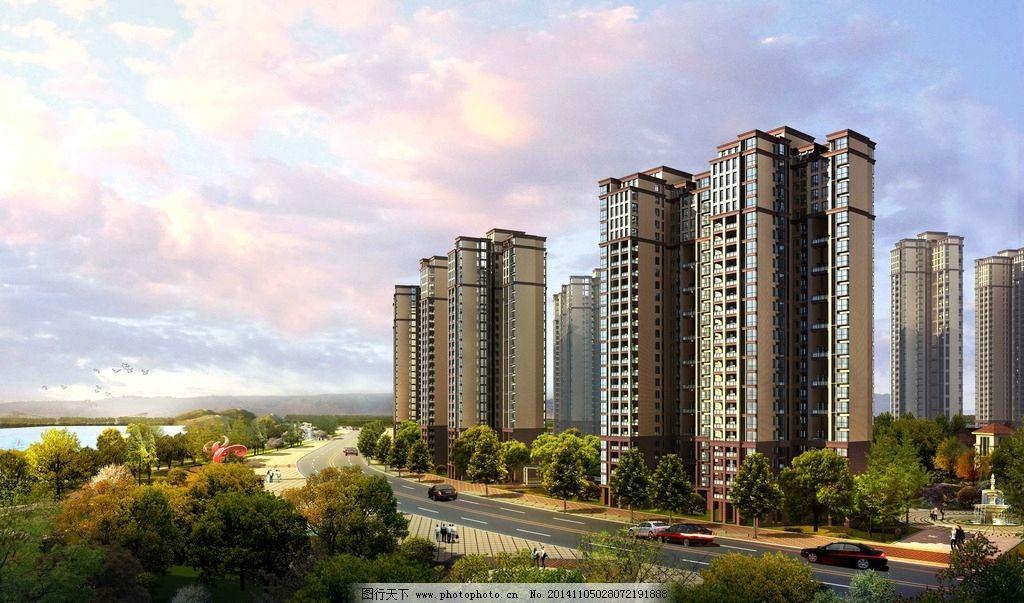 高层 住宅 鸟瞰 建筑群 绿植 psd效果图源文件 设计 环境设计 建筑