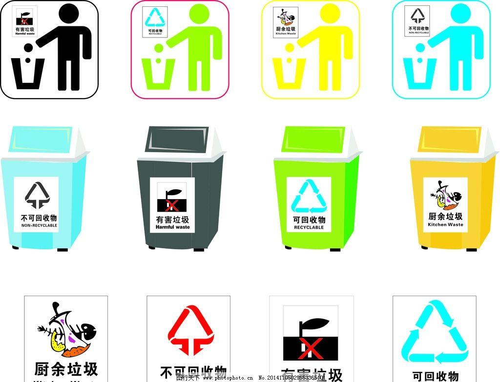 垃圾回收分类标志 垃圾桶图片