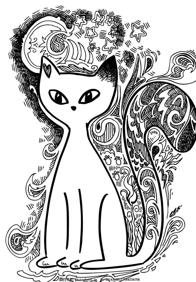 手绘白色猫咪 花纹 夜晚 月亮 星星 书画 文化艺术 绘画书法