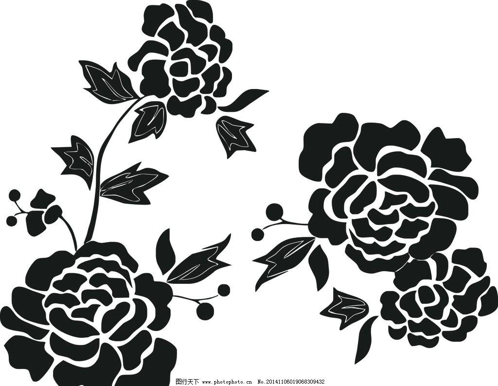 牡丹花简笔画 白描 黑白 无限放大 文化艺术 绘画书法