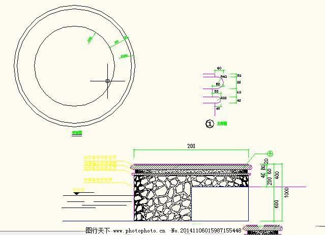 圆形现代树池坐凳施工图