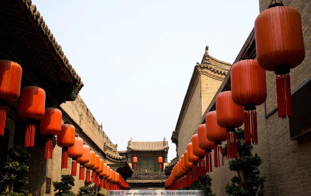 乔家大院 山西 古建筑 门口 红灯笼 晋文化 屋檐 摄影 旅游摄影