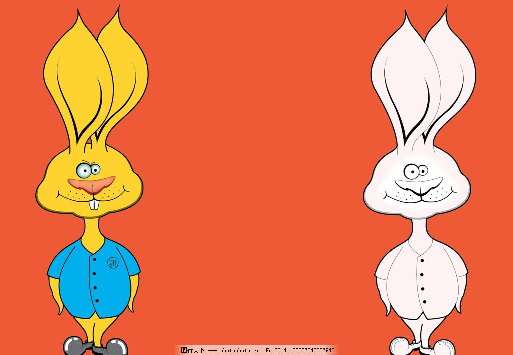 耳朵 卡通动物 暖色兔子卡通