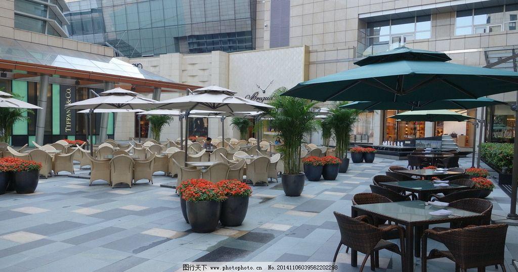 商业景观 移动花钵 小叶榄仁 户外家具 户外咖啡 商业外摆空间 阳伞
