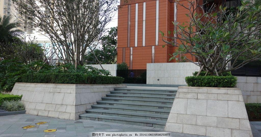 台阶 景观 鸡蛋花 种植池 挡土墙 石材 摄影 建筑园林 园林建筑图片