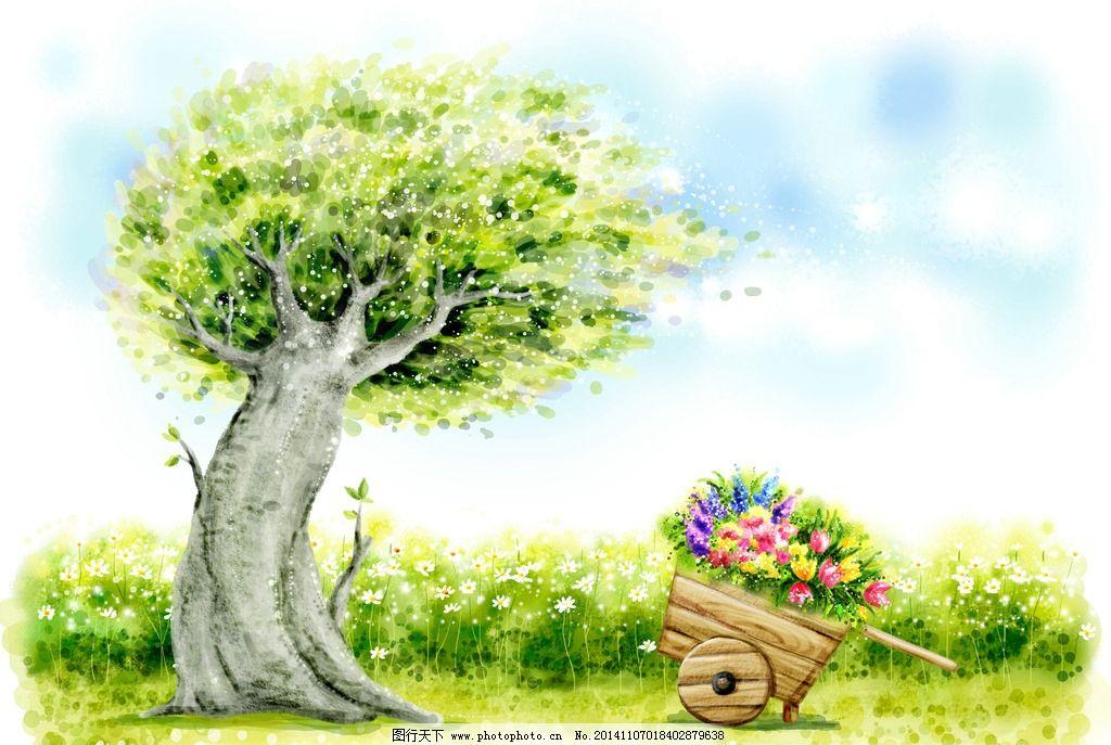 大树 插画 风景 300dpi jpg rgb 花草 设计 动漫动画 风景漫画 300dpi