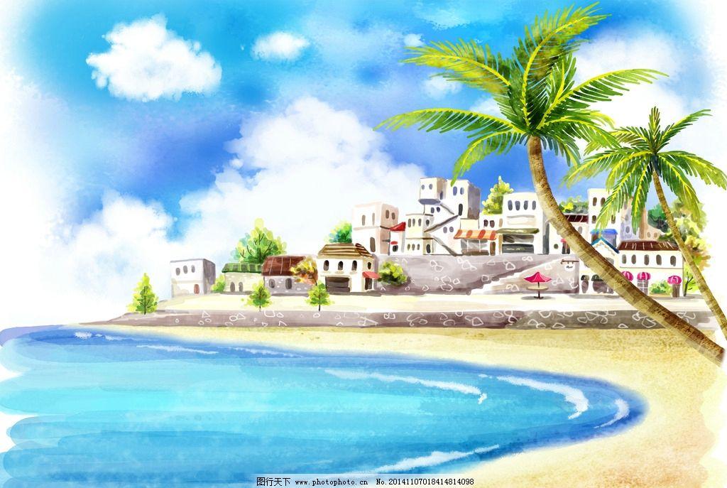卡通大海房子壁纸