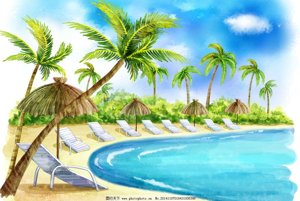 大海椰子树图片_风景漫画_动漫卡通_图行天下图库