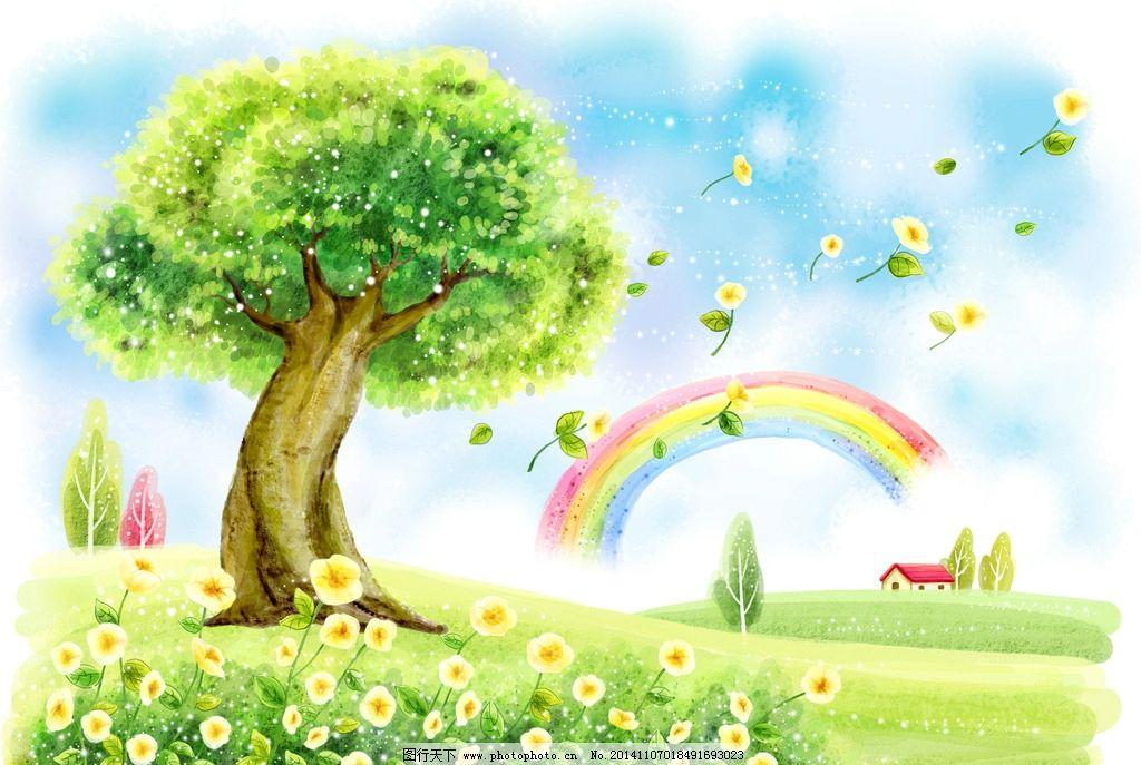 绿树 风景 插画 300dpi jpg rgb 花草 彩虹 设计 动漫动画 风景漫画图片