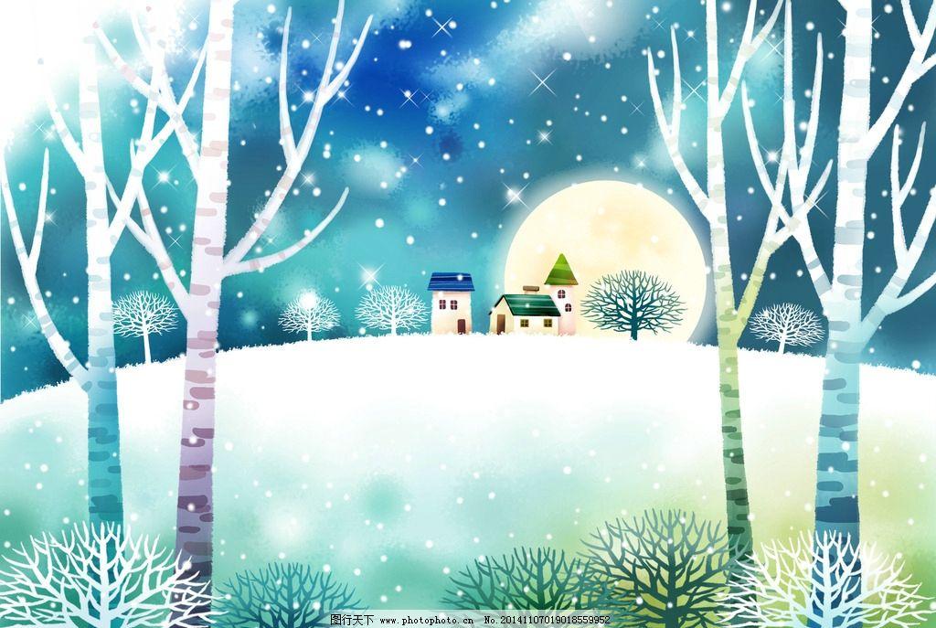 树木风景插画图片