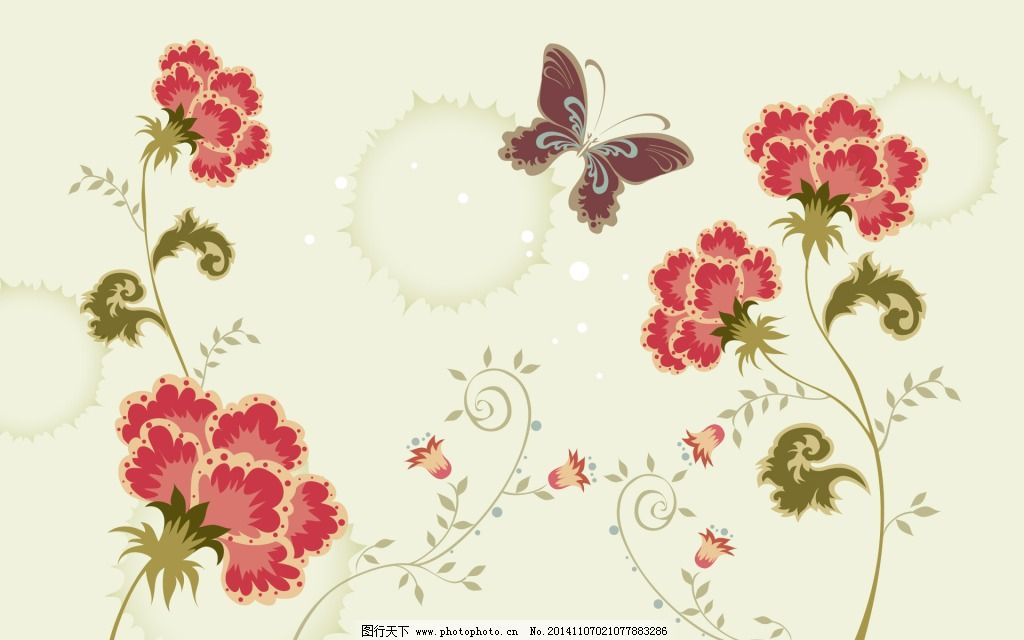 蝴蝶 康乃馨 素材 素材 蝴蝶 康乃馨 图片素材 底纹边框