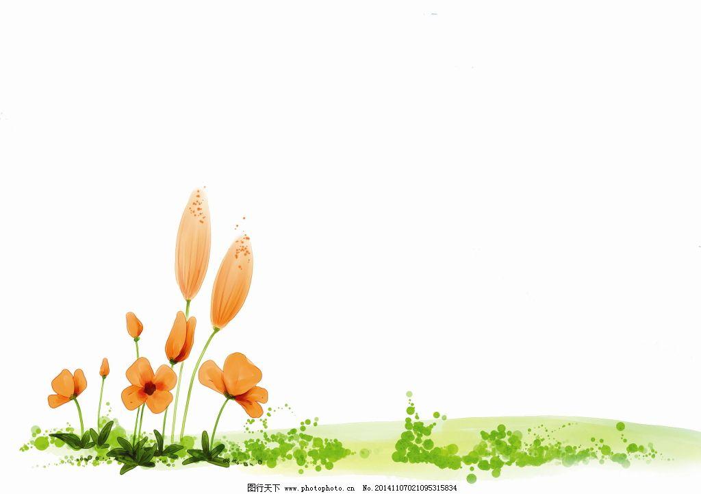 红色花 花朵 手绘 花朵 手绘 红色花 图片素材 底纹边框