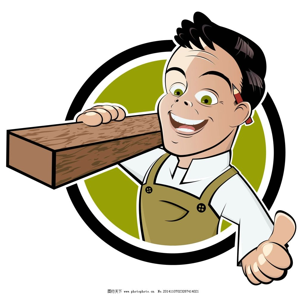 工人 卡通人物 木工 手绘