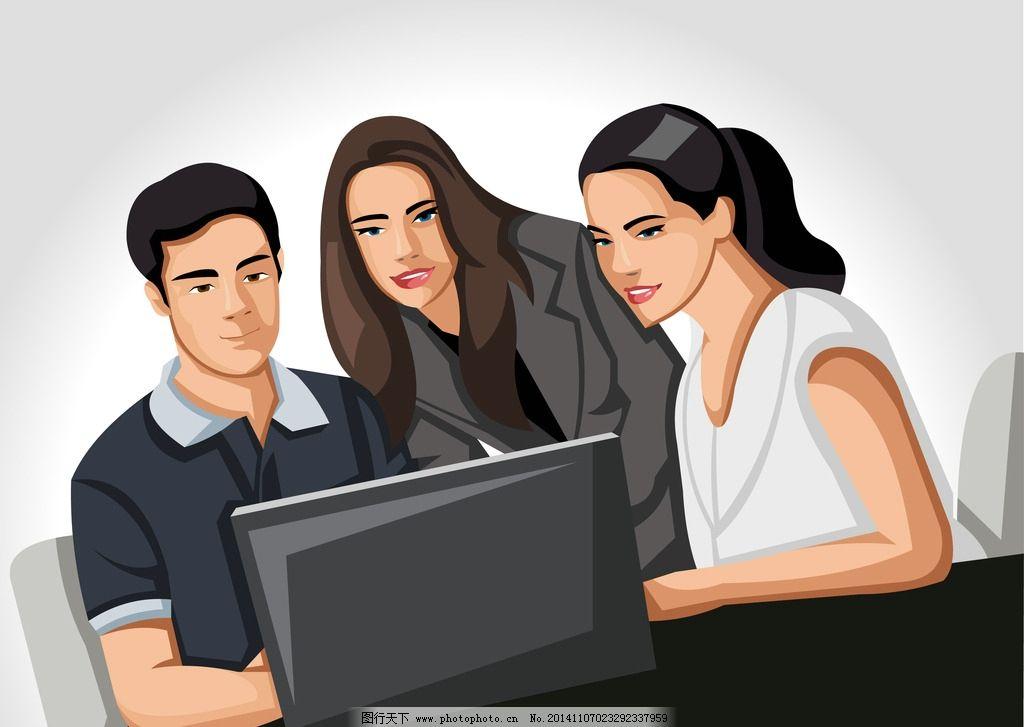 职业人物 职业女性 商务人物 白领 秘书 手绘人物 团队合作 商业插图
