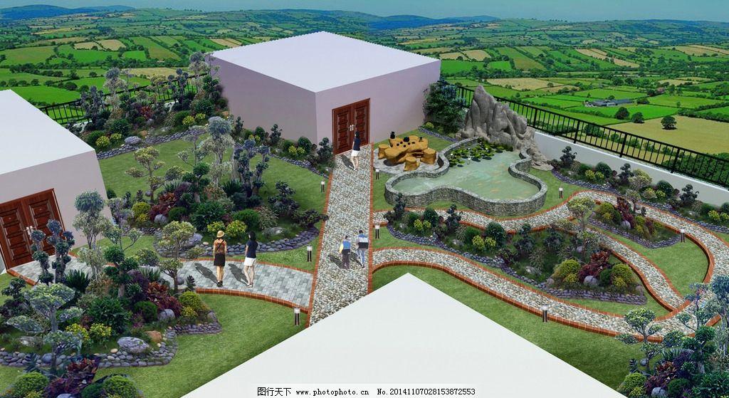 红色 3d 建筑 花园 景观 庭院        外立面 透视图 室外 设计 环境