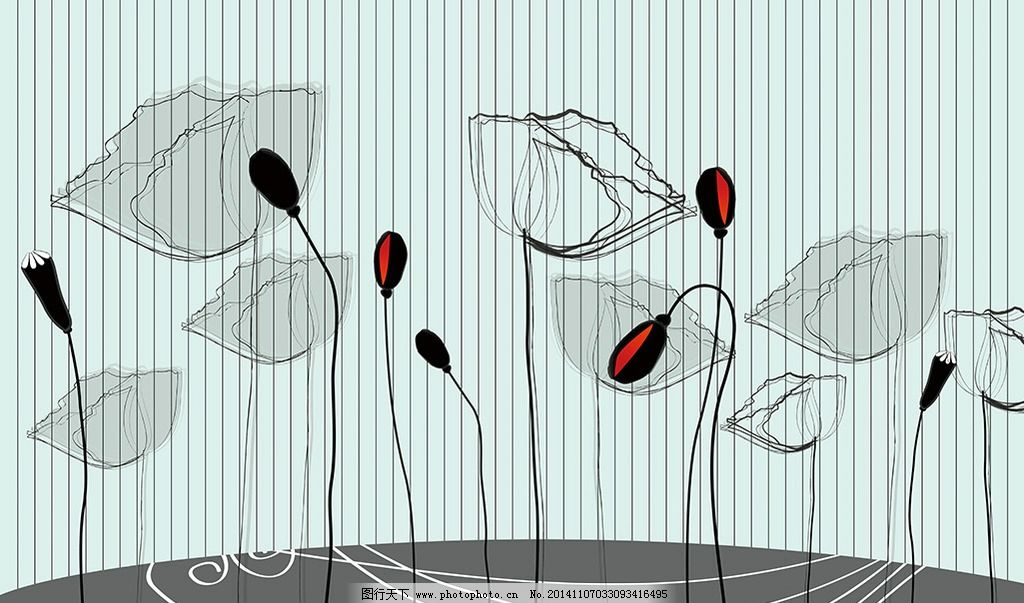 卡通 唯美 背景墙 手绘 墙贴 壁画 壁纸 矢量 线条 麦克风 喇叭 罂粟