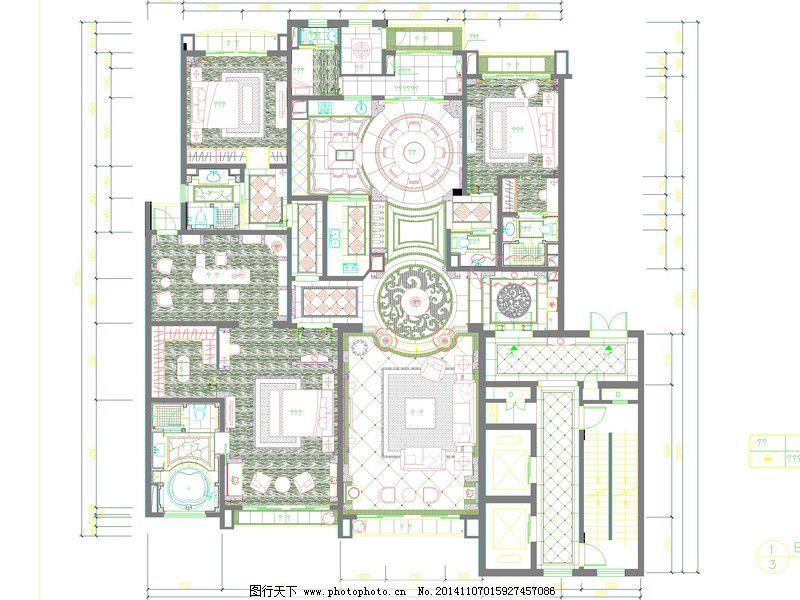 cad设计图 cad效果图 建筑素材 图纸下载 别墅平面 cad设计图 别墅