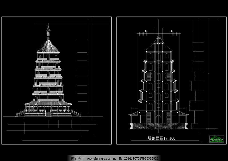 塔立面cad图,建筑坡度图纸下载建筑素材-图行cad1:0.1怎么图纸的画图片