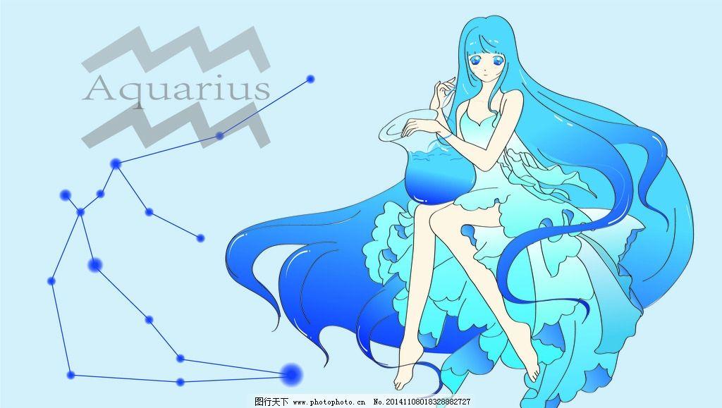十二星座 蓝发少女 卡通壁纸 动漫 物语 设计 动漫动画 动漫人物  ai