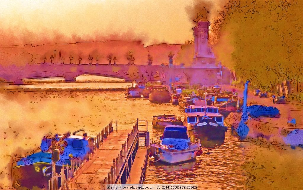毛刷油画 静态写真 建筑油画 源文件 手绘风景画 都市风光 ps合成