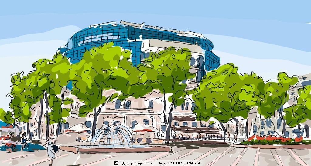 水彩建筑 手绘 水墨城镇 国外建筑 城市建筑 建筑家居 矢量